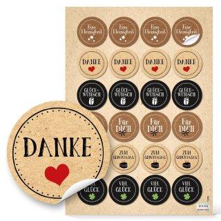 Geschenkaufkleber braun schwarz 4 cm rund - Geburtstag Sticker