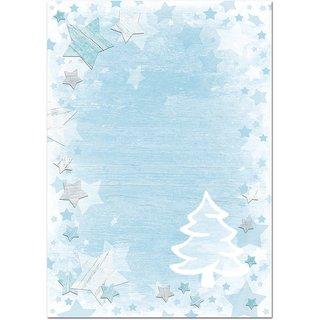 Weihnachtsbriefpapier blau weiß - weihnachtliches Briefpapier 100g  mit Weihnachtsbaum-Motiv DIN A4