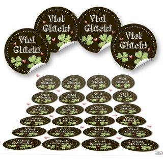 Viel Glück Sticker rund - 4 cm - schwarz grün mit Glücksklee Prüfung Silvester Dekoration