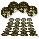 Viel Glück Sticker rund - 4 cm - schwarz grün...