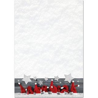 Weihnachtliches Briefpapier rot weiß mit Nikolausmützen - Weihnachtsbriefpapier zum Bedrucken & Beschriften