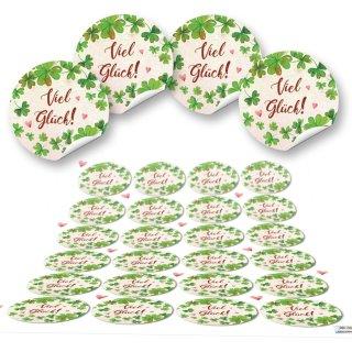 Viel Glück Aufkleber natur grün rot floral - 4 cm rund - Hochzeitskarte Weihnachtsverpackung