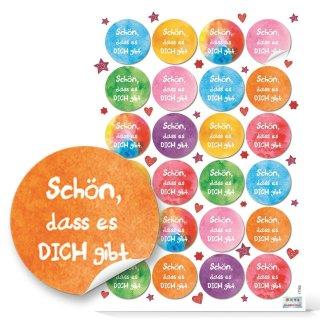 Deko Sticker Schön dass es dich gibt bunt - 4 cm rund - Muttertag Geburtstag Freunde Aufmerksamkeit