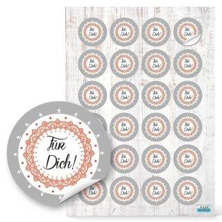 Für Dich Geschenkaufkleber - 4 cm rund - grau weiß orange - Verzierung für Geschenke