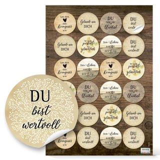 Motivationssticker Kraftpapierlook - 4 cm rund - verschiedene Weisheiten Lebensglück Liebe Leben