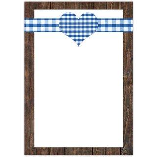 Briefpapier blau weiß mit Herz 100g Schreibpapier DIN A4 im rustikalen Stil - bayerisch