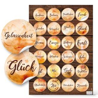 Geschenkaufkleber rund 4 cm orange braun - positive Wörter Harmonie Spiritualität Wortaufkleber