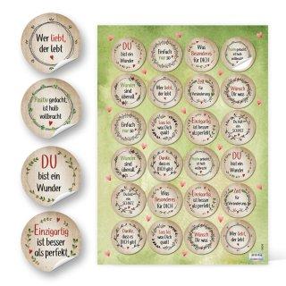 Motivierende Aufkleber - 4 cm rund - braun rot grün floral Statements Geschenkaufkleber Give-Away