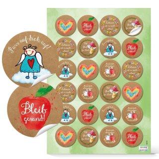 Deko Sticker bunt - 4 cm rund - Kraftpapieroptik Sprüche zur Gesundheit Kraft Glück Zuhause Verpackung