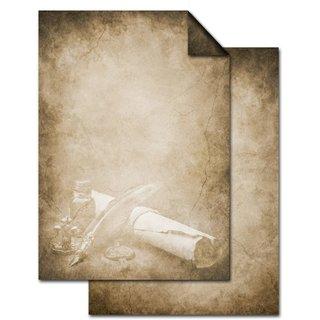 Vintage Briefpapier DIN A4 braun beige - Druckerpapier beidseitig bedruckt - Motiv Papierrolle & Füller