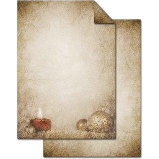Briefpapier weihnachtlich mit Kerze & Kugel - Vintage Weihnachtspapier beige braun rot