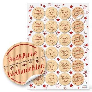 weihnachtliche Aufkleber Text Fröhliche Weihnachten + Frohes Fest - 4 cm rund - natur rot verzieren