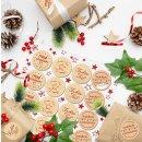 Weihnachtliche Aufkleber mit Text Fröhliche Weihnachten + Frohes Fest - 4 cm natur rot