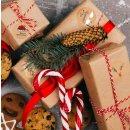 Weihnachtsaufkleber rund 4 cm in Kraftpapier-Optik braun rot weiß - Weihnachtssticker mit Text
