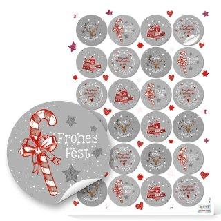 Frohes Fest Weihnachtsaufkleber grau rot weiß - 4 cm rund - verschiedene Designs Päckchen Pakete Präsente