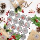 Frohes Fest Weihnachtsaufkleber grau rot weiß - 4 cm rund - verschiedene Weihnachtsmotive