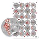 Frohes Fest Weihnachtsaufkleber grau rot weiß - 4...