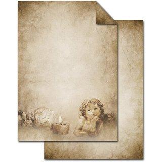 Weihnachtsbriefpapier mit Engel Motiv DIN A4 vintage beige braun - Nostalgie Briefpapier