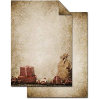 Weihnachtliches Briefpapier Vintage mit Weihnachtsgeschenk rot beige - DIN A4 Papier zum Bedrucken