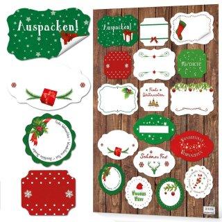 Weihnachtssticker zum Beschriften in verschiedenen Größen - rot grün weiß - für Weihnachtsgeschenke
