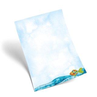 Maritimes Briefpapier türkis bunt mit Regenbogenfisch DIN A4 - Papier zum Bedrucken & Beschriften