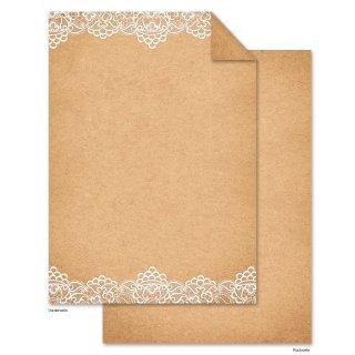 Briefpapier in Kraftpapier-Optik bedruckt mit Spitze braun weiß DIN A4 - Einladungspapier Hochzeit