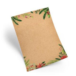 Weihnachtliches Briefpapier braun rot grün DIN A4 mit Zweigen - Druckerpapier Weihnachten