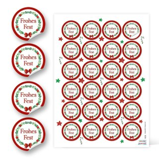 Sticker Frohes Fest weihnachtlich - 4 cm rund - weiß rot grün Geschenkverpackung klassisch