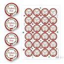 Sticker Frohes Fest weihnachtlich - 4 cm rund -...