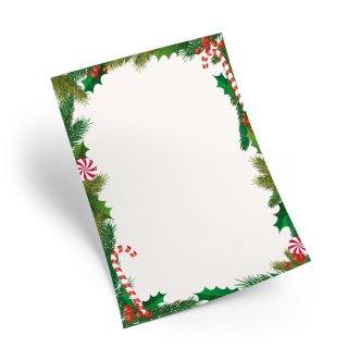 Weihnachtspapier weiß rot grün DIN A4 - Briefpapier Weihnachten zum Beschriften & Bedrucken
