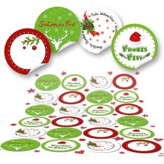 Weihnachtsaufkleber rund 4 cm - weiß rot grün - beschreibbar und mit Text