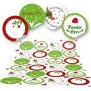 Aufkleber weihnachtlich - 4 cm rund - weiß rot...