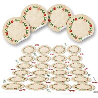Blanko Weihnachtsetiketten rund 4 cm - beige grün rot - beschreibbar