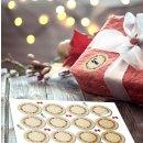 Blanko Weihnachtsetiketten rund 4 cm - beige grün...