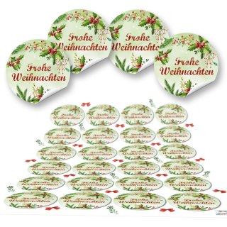 Aufkleber Frohe Weihnachten - 4 cm rund - rot grün Mistelzweig Tannenzweig verpacken Deko