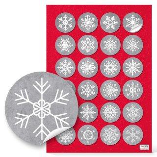 Weihnachten Sticker - 4 cm rund - grau weiß Schneeflocke Papiertüten give-away Gastgeschenk