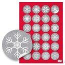 Weihnachten Sticker - 4 cm rund - grau weiß...