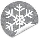 Schneeflockenaufkleber rund 4 cm grau weiß - Weihnachtssticker Schneeflocke