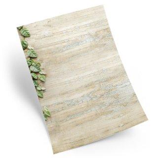 Briefpapier Motivpapier DIN A4 in Holzoptik mit Efeu - Papier zum Bedrucken & Beschriften - Briefe schreiben