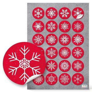 Schneeflockenaufkleber rot weiß 4 cm rund - Schneeflocke zum Kleben - Weihnachtssticker