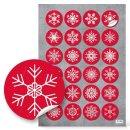Aufkleber Weihnachten - 4 cm rund - weiß rot...
