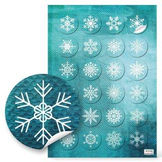 Schneeflocken Aufkleber türkis blau weiß rund 4 cm - Sticker Weihnachten Winter