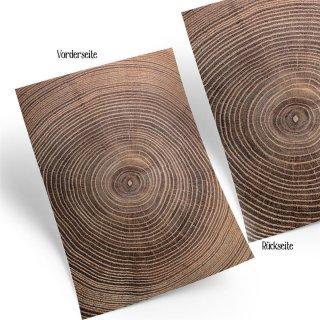 Motivpapier Bastelpapier in Holzoptik braun mit Jahresringen - Holz Motiv Papier zum Basteln DIN A4