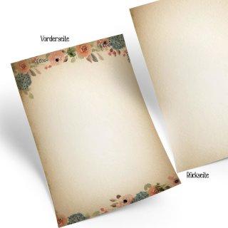 Briefpapier beige mit Blumen rosa DIN A4 - Schreibpapier Einladungspapier im Vintage Boho Stil