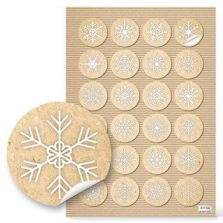 Schneeflocken Sticker rund natur beige weiß - Weihnachtsaufkleber rund 4 cm