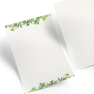 Schreibpapier DIN A4 grün weiß aquarell Blätter - Briefpapier Designpapier für Menükarten Einladungen Briefe