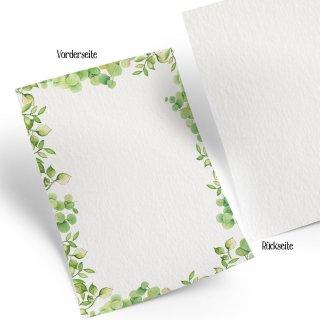 Briefpapier DIN A4 grün grau Blätter-Ranken - beschreibbar bedruckbar Motivpapier Druckerpapier