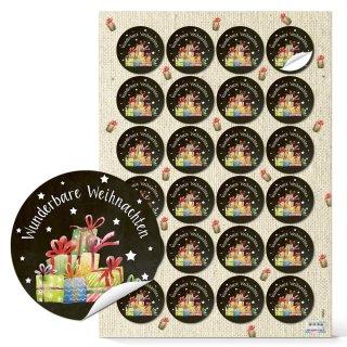 Weihnachtssticker Wunderbare Weihnachten - 4 cm rund - schwarz mit bunten Geschenken