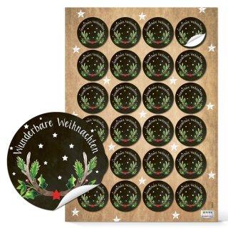 Weihnachtsaufkleber rund - 4 cm - mit Text Wunderbare Weihnachten schwarz grün verpacken Verzierung