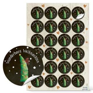 Sticker Wunderbare Weihnachten schwarz weiß grün - 4 cm rund - mit Tannenbaum